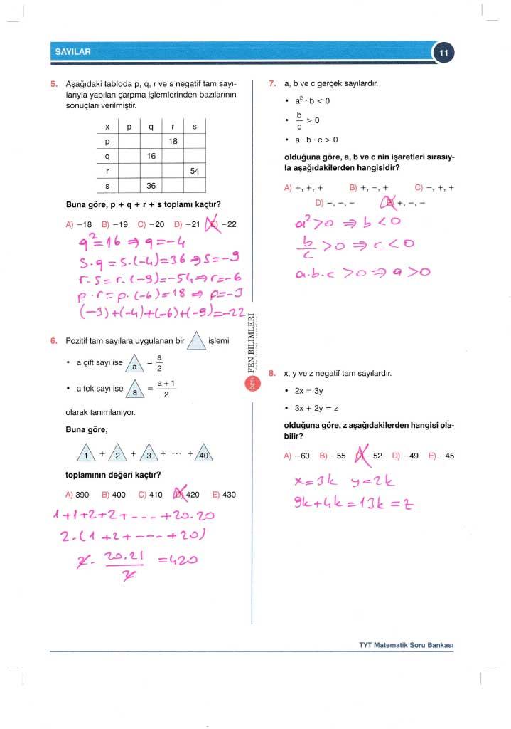 TYT-AYT Matematik Konu Anlatımlı Çözümleri - 0011