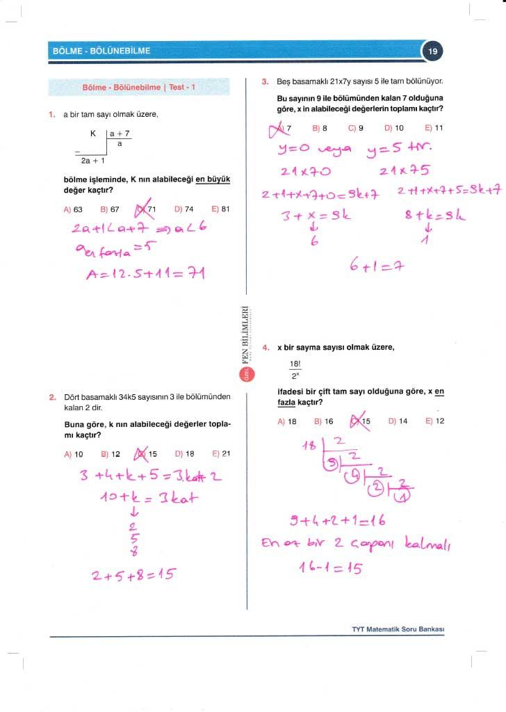 TYT-AYT Matematik Konu Anlatımlı Çözümleri - 0019