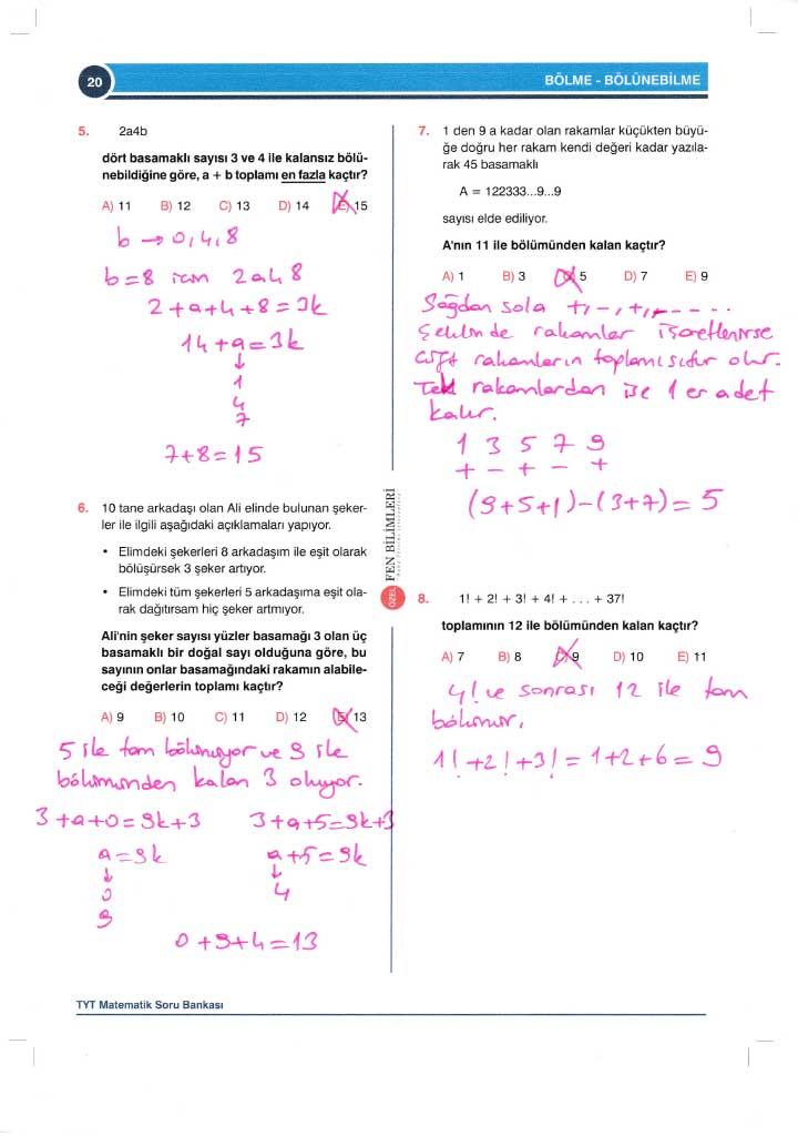 TYT-AYT Matematik Konu Anlatımlı Çözümleri - 0020