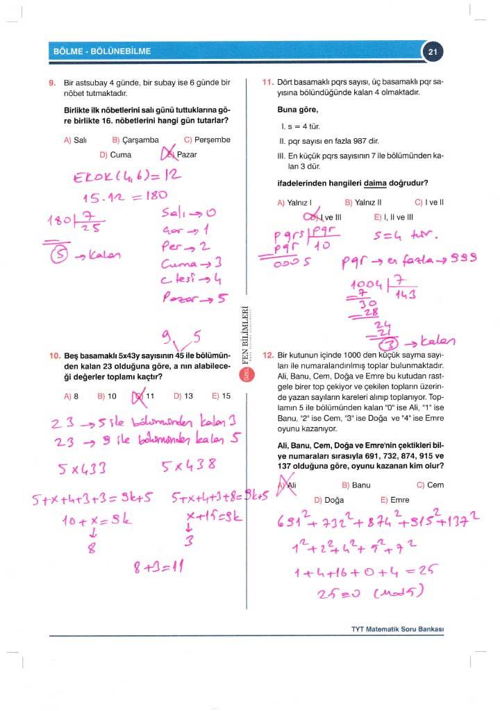 TYT-AYT Matematik Konu Anlatımlı Çözümleri - 0021
