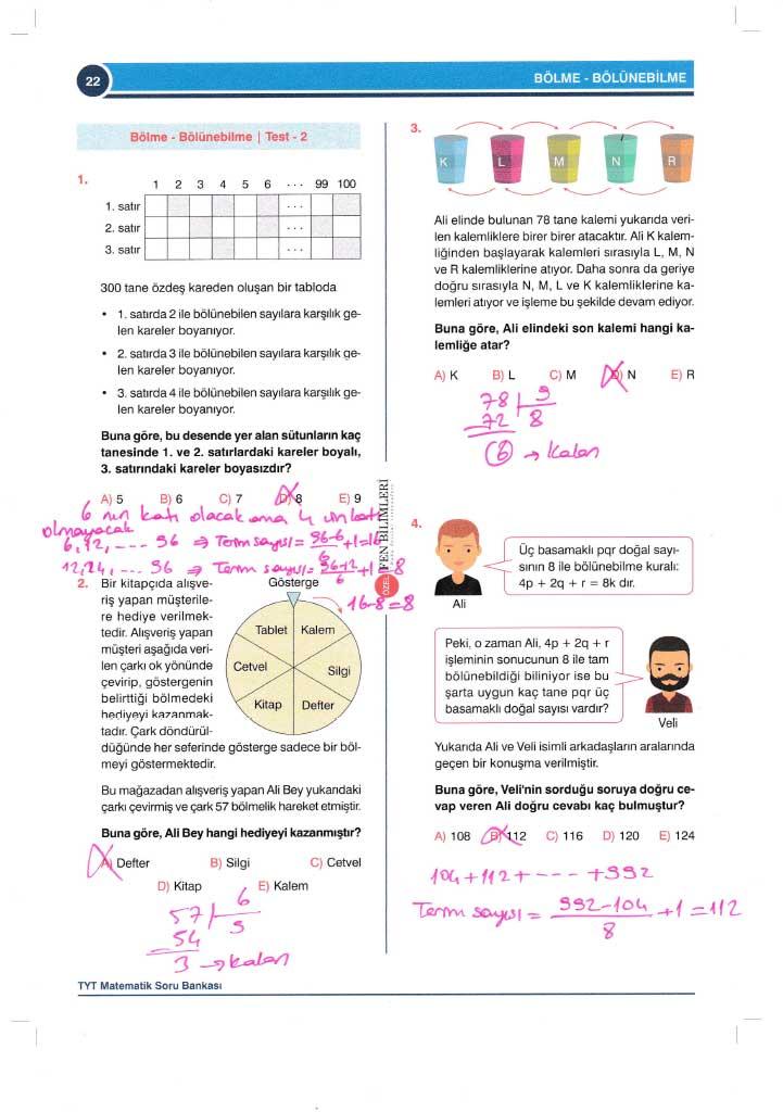TYT-AYT Matematik Konu Anlatımlı Çözümleri - 0022