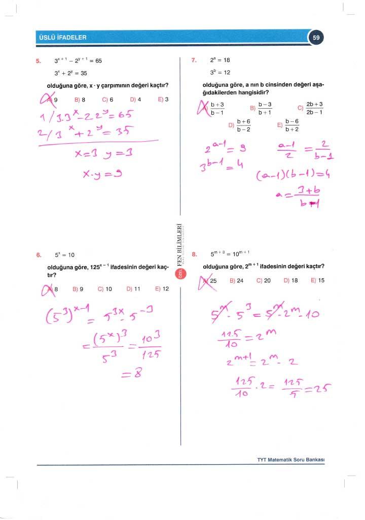 TYT-AYT Matematik Soru Bankası Çözümleri